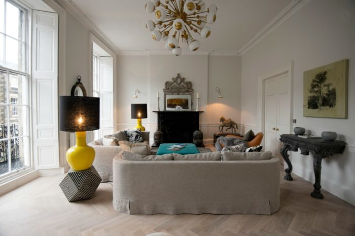 White oil finish block parquet floor in a living room setting
