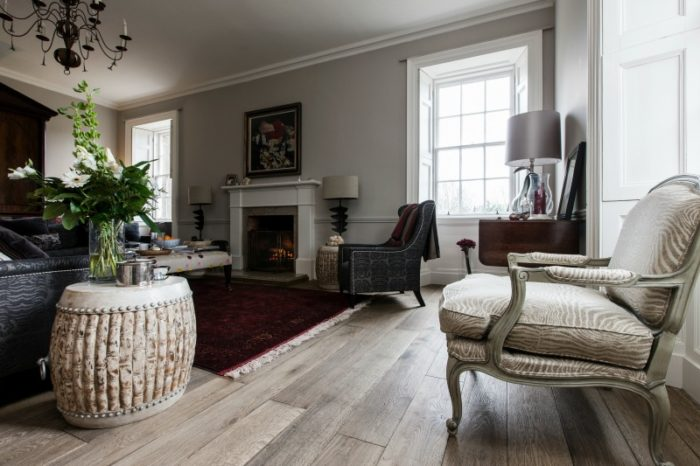 Brown toned oak flooring in a living room setting