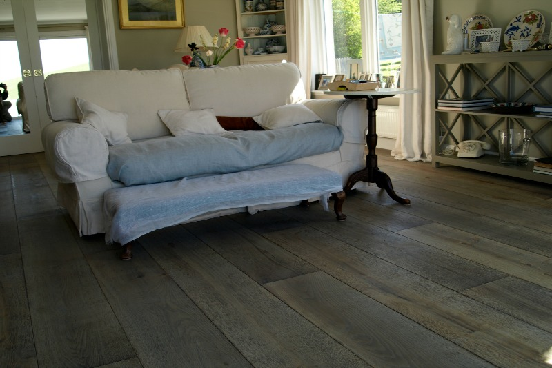Blue toned oak flooring in living room setting