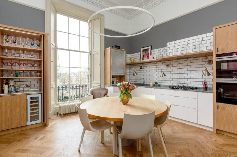 Bourbon oil finish block parquet floor in a kitchen setting