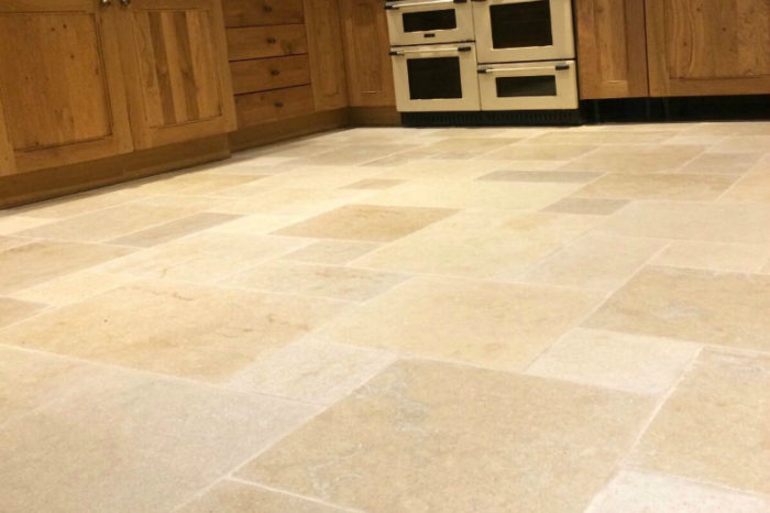 Beige coloured limestone in a kitchen settin