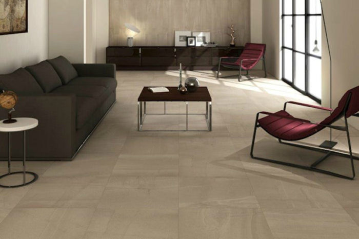 Sand coloured tile in a living room setting