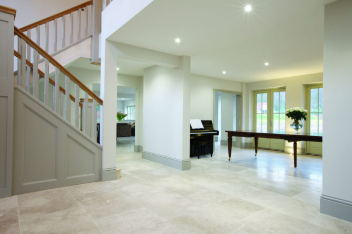 Plae limestone with a honed edge finish