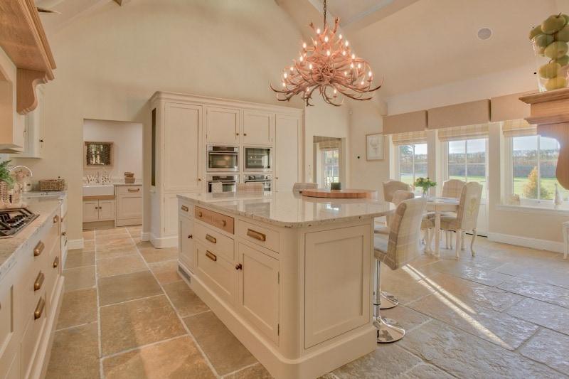 Varied tone limestone in a kitchen setting
