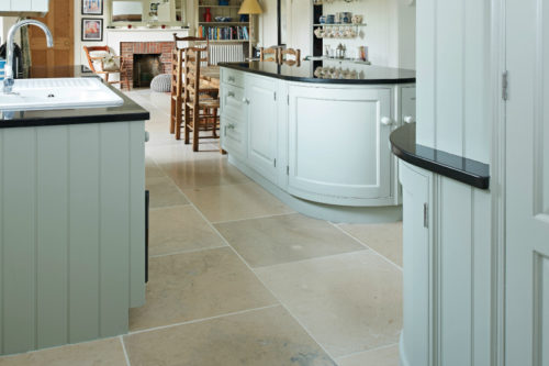 Beige limestone in a kitchen setting