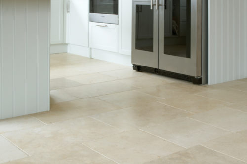 Cream limestone in a kitchen setting