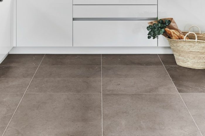 Velvet finish grey limestone in a kitchen setting