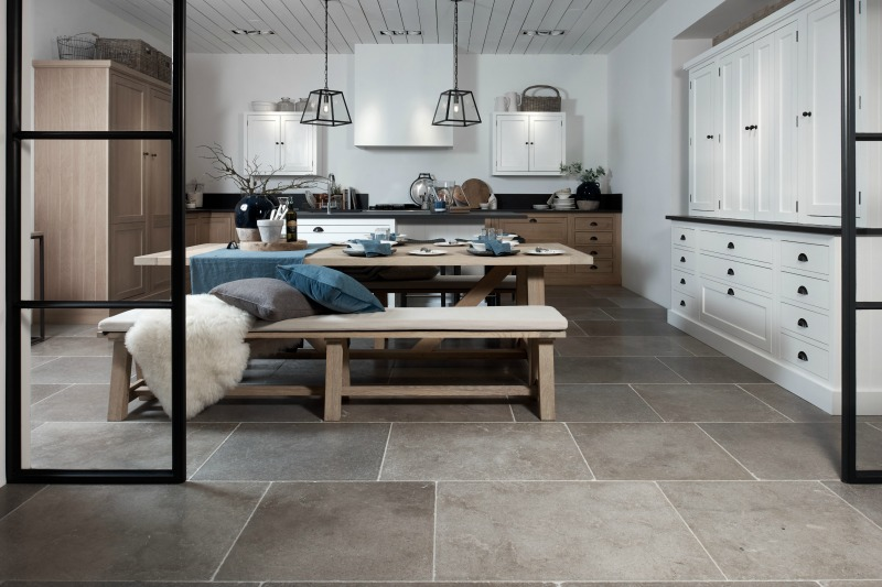limestone floor in kitchen