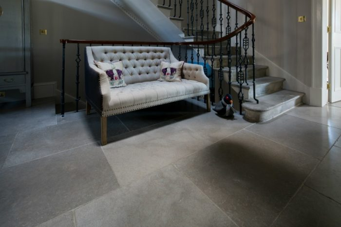 Grey limestone in entrance way