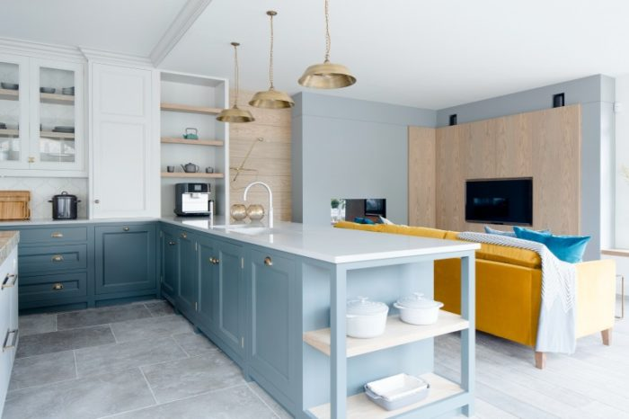 Grey limestone in kitchen