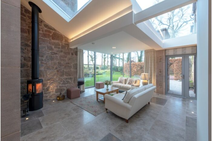 grey limestone in a living room