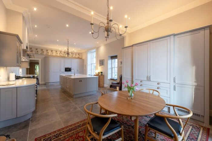 grey limestone in kitchen dining setting