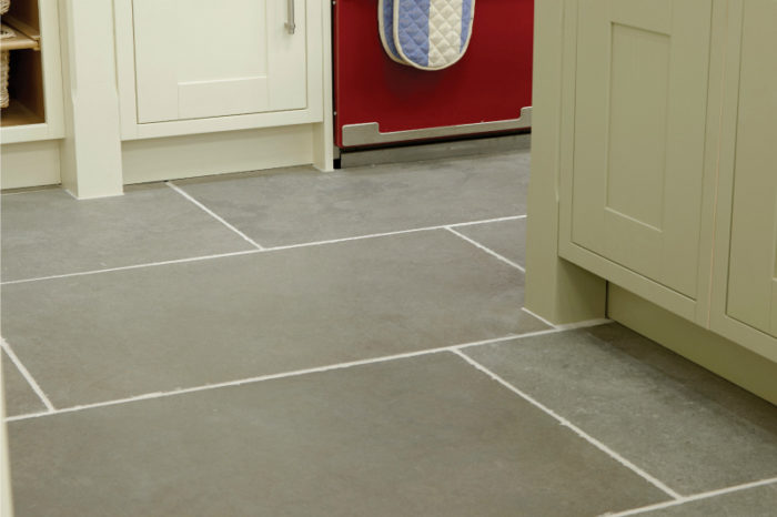 Grey tumbled limestone in a kitchen setting