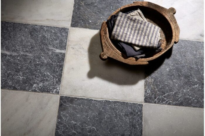 Blue and white marble chequered board floor