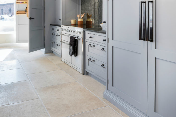Grey limestone in a kitchen setting