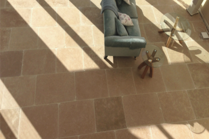 Cream limestone in a living room