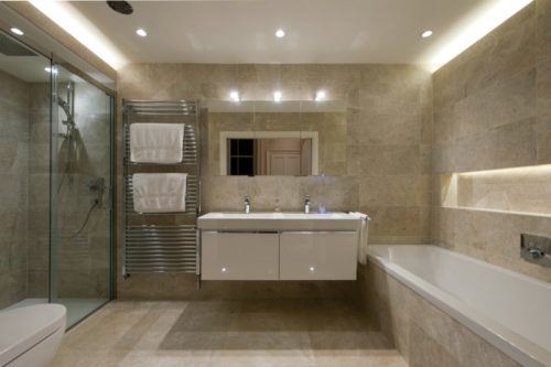 Beige mottled marble in a bathroom