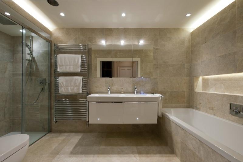 Beige mottled marble in a bathroom