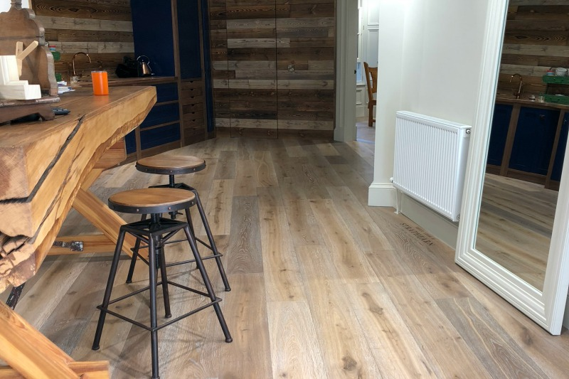 Smoked oak with a white oil in a showroom