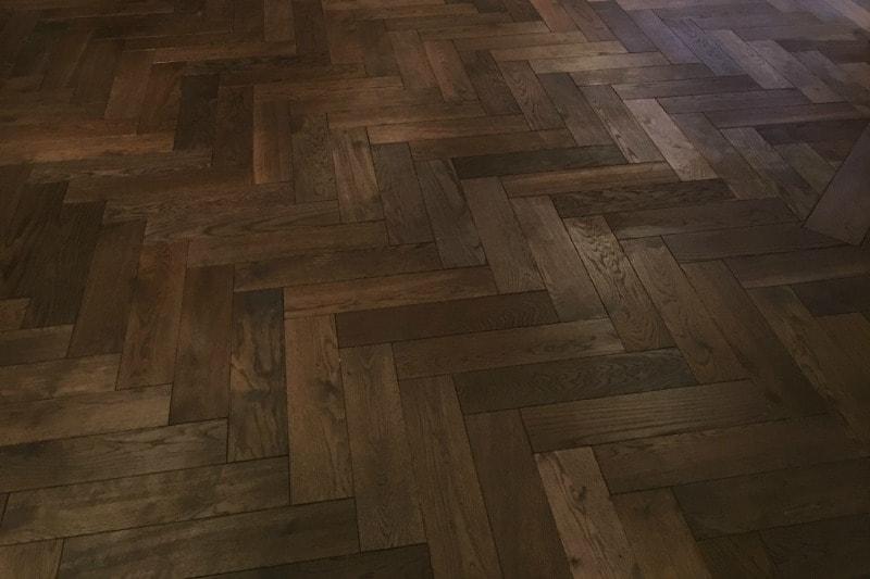 Rich brown herringbone oak flooring