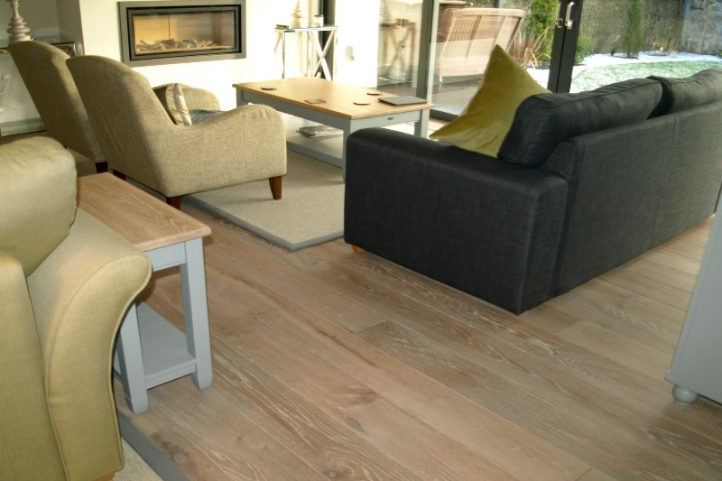 White washed oak flooring in a living room