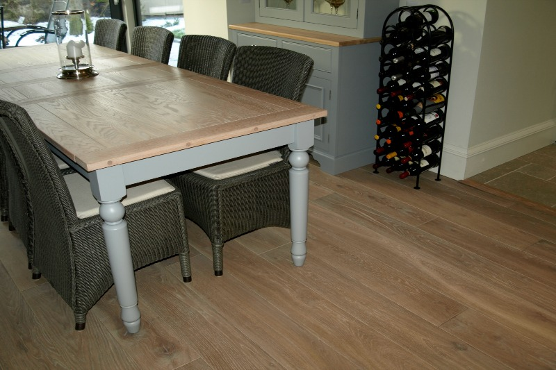 White washed oak flooring in a dining room