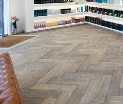 wooden flooring in hair salon