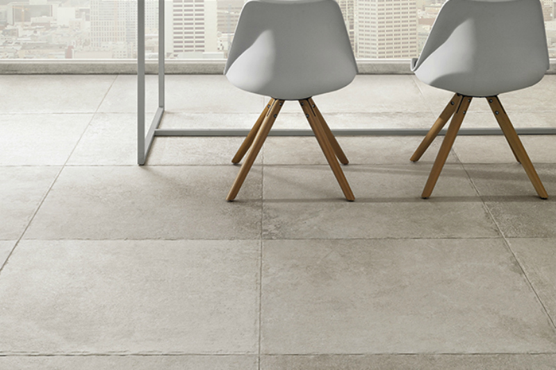 Grey tile in a dining room setting