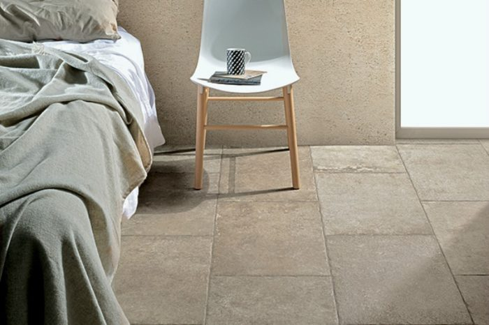 Beige coloured tile in a bedroom setting