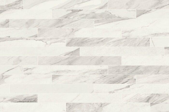 Veined white brick shaped porcelain tiles