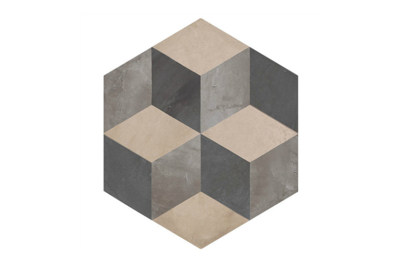 Hexagon Patterned tile labelled 4