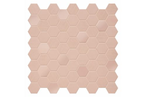Blush coloured hexagon mosaic swatch