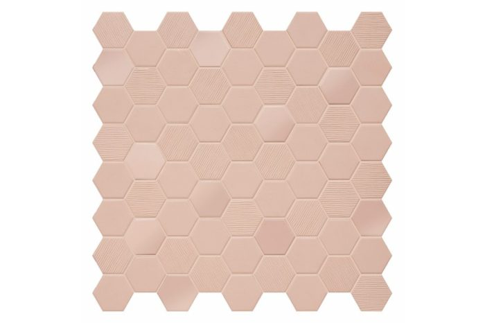 Blush coloured hexagon mosaic swatch
