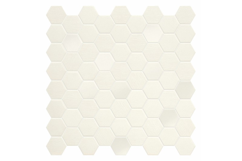 Cotton coloured hexagon mosaic swatch
