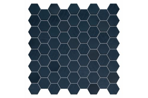 Navy coloured hexagon mosaic swatch
