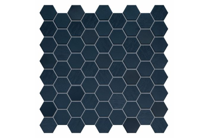 Navy coloured hexagon mosaic swatch