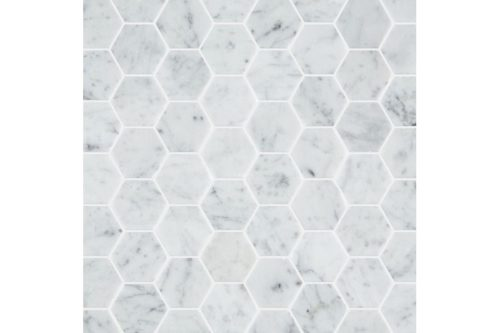 Carrara Honed Hexagon Mosaic swatch