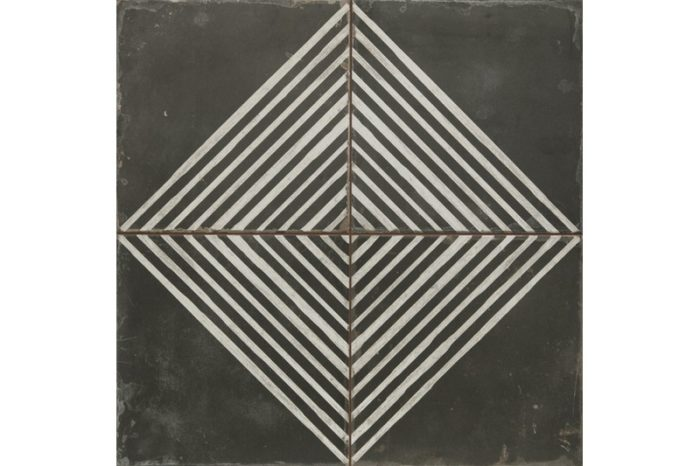 Quad black and white etched tile swatch