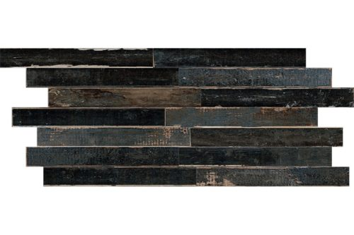 Black Distressed wood effect porcelain swatch