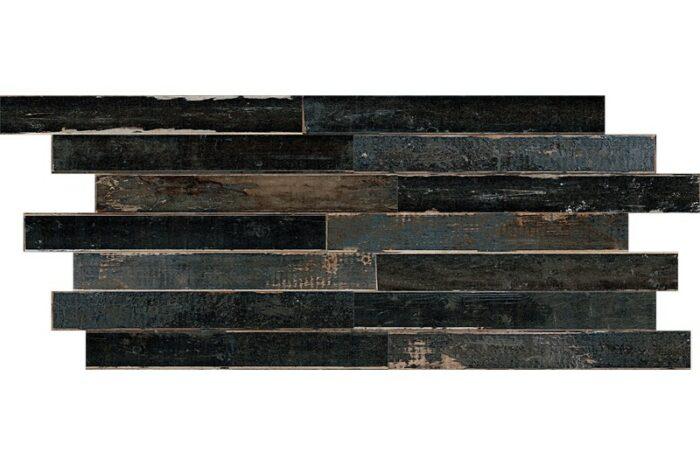 Black Distressed wood effect porcelain swatch