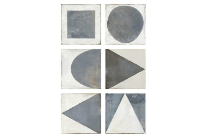 Black and white shape on decorative tile swatch
