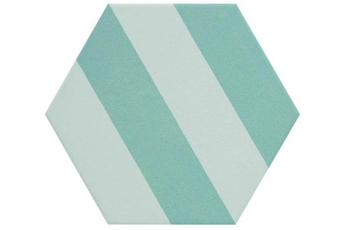Striped aqua hexagon tile swatch