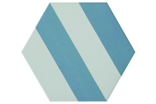Striped blue hexagon tile swatch