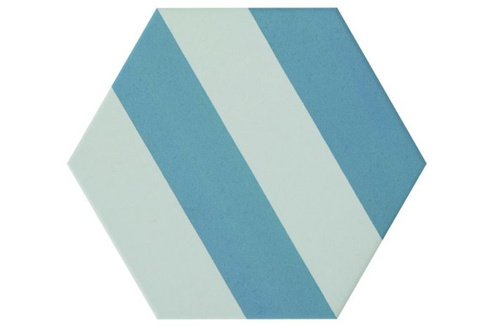 Striped blue hexagon tile swatch