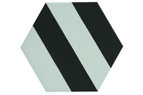 Striped black and white hexagon tile in situ