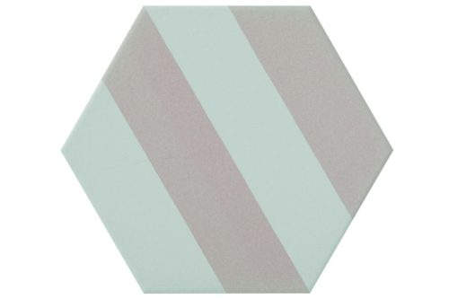 Striped pink hexagon tile in situ