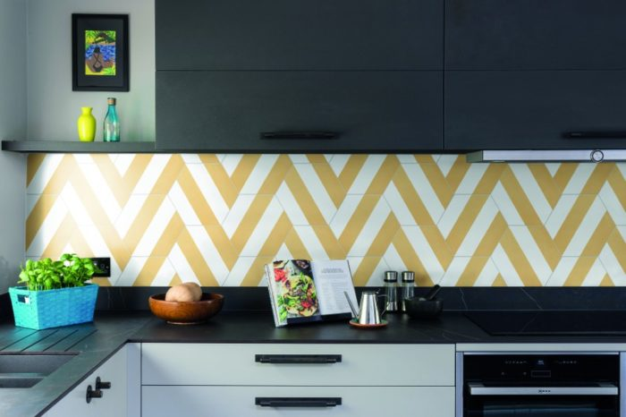 Striped yellow hexagon tile in situ