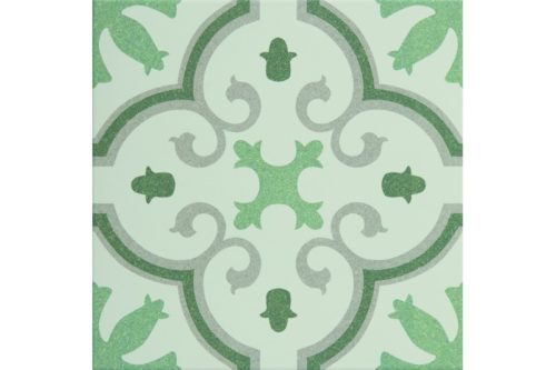 green flowered decorative tile swatch