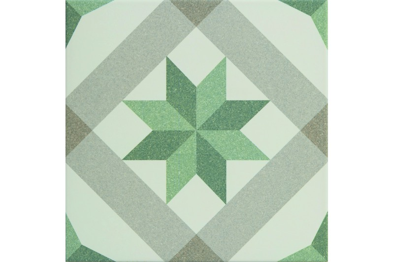 green and criss cross decorative tile swatch