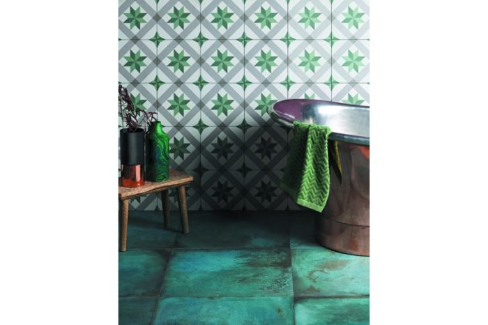 green and criss cross decorative tile in situ